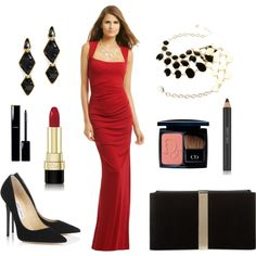 Lady in red #2 - Christmas party by smirnoff-designs on Polyvore featuring polyvore, fashion, style, Nicole Miller, Jimmy Choo, Roger Vivier, Amrita Singh, Kenneth Jay Lane, Christian Dior, Dolce&Gabbana, Estée Lauder and Chanel