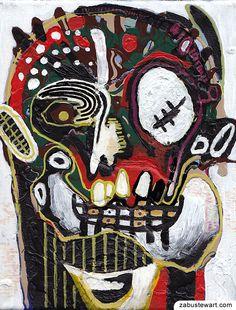 "Zabu Stewart - Recent acrylic and latex painting titled - ""Self-Portrait with dislocated jaw"".    ::    zabustewart.com"
