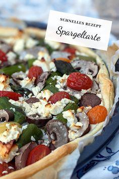 Spargeltarte Rezept: Schnell gemacht und richtig lecker ist dieses Spargel Rezept mit grünem Spargel. Die vegetarische Tarte mit buntem Gemüse ist sommerlich leicht. Die Blätterteig Tarte eignet sich auch gut als Party Rezept. Fabulous Foods, Diy Food, Vegetable Pizza, Buffet, Mexican, Vegetables, Ethnic Recipes, Party, Baked Goods