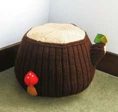 Knitting pattern for Tree Stump Ottoman - great idea for nursery or kids room. Finished Ottoman measures 13 inches tall, and 30 inches wide on Etsy (affiliate link) More furniture knitting patterns at http://intheloopknitting.com/furniture-knitting-patterns/