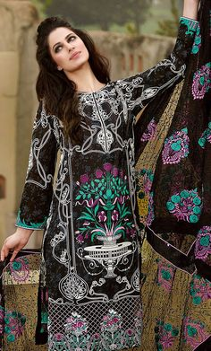 Black Embroidered Cotton Lawn Dress
