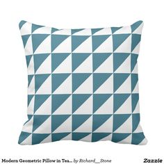 Modern Geometric Pillow in Teal Blue