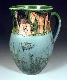 Airedales and Fish pitcher
