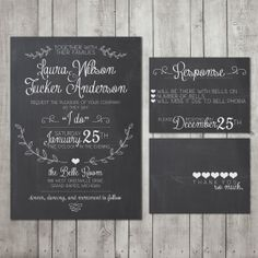 Wedding Invitation Suite Chalkboard - Printable - DIY Wedding, CHALK, Custom, Vintage (Wedding Design #24)