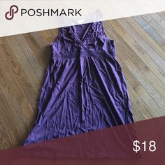 Sundress Cute plum color v neck sundress LOFT Dresses Midi - love the color.. probably not enough room for my boobs though.