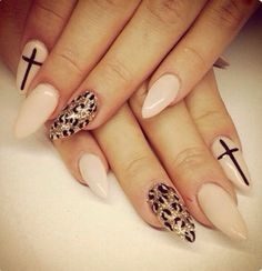 Peach cream nails with crosses and a print!