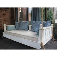 Ridgidbuilt New Orleans Hanging White Porch Swing Bed