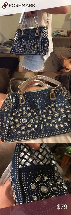 Le Bleu bling satchel 11 x 9 NWT HOT ! Denim Boutique 2 way blingy purse 11 x 9 NWT HOT !!!! Gorgeous with crystals!!! BRAND NEW WITH TAGS!! Bags Shoulder Bags
