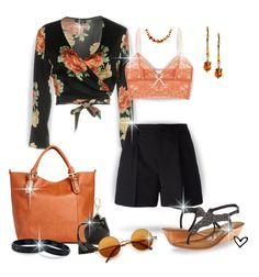 """""""~TOPSHOP~ Floral Wrap Cardigan~"""" by justwanderingon ❤ liked on Polyvore featuring Topshop, Yves Saint Laurent, Eberjey, Naughty Monkey, Rebecca Minkoff, Ross-Simons, Be-Jewelled, NOVICA and cardiganandshorts"""