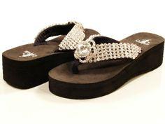 Jeweled Flip Flops for Women | Womens Corkys Diamond Black Platform Jeweled Flip Flops Sizes 6 11 ...