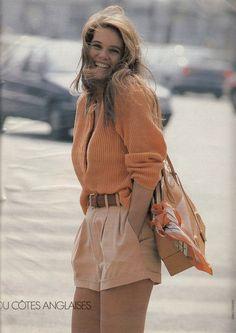"""""""Shorts En Ville"""", ELLE France, June 1990 Photographer : Marc Hispard Model : Elle MacPherson Color palette love"""