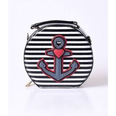 43a97d99e Hell Bunny Black   White Stripe Anchor   Heart Nautical Patent Vanity... (