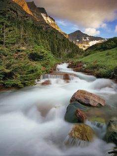 Baring Creek with Going to the Sun Mountain in Glacier National Park, Montana, USA Photographic Print by Chuck Haney at Art.com
