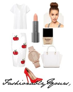 Bring out your favorite white tee today and embellish it!   Zip into this shimmering white sequin pencil skirt featuring red apples.  Draw attention to yourself with a pop of red in your show.  Let red be your statement and keep your makeup light and natural.