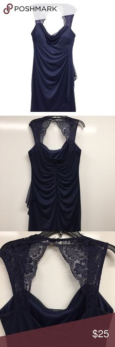 Navy lace cocktail dress.  Sz 14 Elegant, Knee length, comfortable and flattering on all your curves. Has ruching in back, and gathering in front.  Sweet lace cap sleeves.  Has been worn once.  Brand is Scarlett and it is a size 14.  Fits true to size comfortably. Scarlett Dresses Wedding