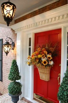 Welcome Fall with an Autumn basket for your front door!   http://betweennapsontheporch.net