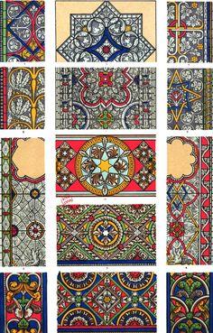 """Des vitraux peints issus de la """"Grammaire de l'#ornement illustrée d'exemples pris de divers styles d'ornement"""" de Jones Owen pour tout savoir sur les différents styles décoratifs selon les époques et les civilisations #couleur #color #numelyo #artgraphique #StainedGlass #vitrail #ArtReligieux"""
