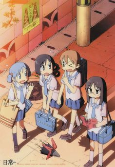 From left to the right: Naganohara Mio (長野原 みお), Shinonome Nano (東雲 なの), Kurasu (烏), Aioi Yūko (相生 祐子) and Minakami Mai (水上 麻衣).
