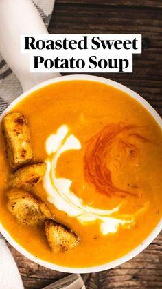 Sweet Potato Soup, Roasted Sweet Potatoes, Sweet Potato Recipes, Healthy Soup Recipes, Vegetarian Recipes, Cooking Recipes, Campbells Soup Recipes, Appetizers, Feel Good Food