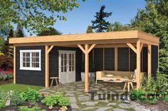 Gazebo Grande 490 x 290 cm Impregnated - Popular Garden Deco covering - Timber trade Gadero presents Larch Douglas canopies with flat roof and beautiful black walls and wh - Garden Buildings, Garden Structures, Outdoor Structures, Wall Frame Set, Frames On Wall, Epdm Roofing, Larch Cladding, Pool Shed, Garden Deco