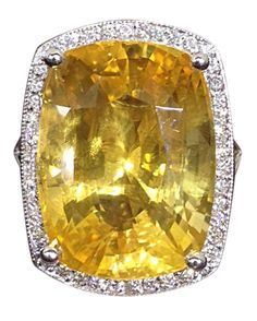 Rare Natural No Heat Large Yellow Sapphire and Diamond Ring