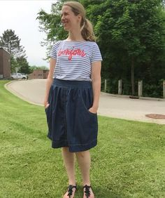 Me Made May Day 26: my other favorite striped boat neck Lark tee and denim Brumby skirt. #mmmay16 #larktee #grainlinestudio #mnbrumby #megannielsenpatterns by teridodds1