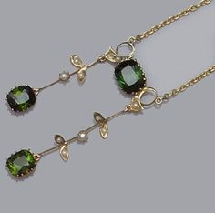 An Edwardian green tourmaline and seed pearl negligèe pendant Edwardian Jewelry, Antique Jewelry, Vintage Jewelry, Edwardian Style, Tourmaline Jewelry, Green Tourmaline, Jewelry Box, Jewelery, Jeweled Shoes