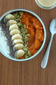 Sweet Potato Breakfast Bowl With Maple-Tahini Sauce (gluten-free, Whole30/paleo options) | amodestfeast.com | @amodestfeast #sweetpotatoes #healthybreakfast #whole30breakfast #paleobreakfast