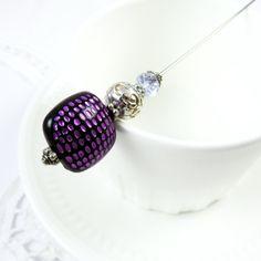 Purple Black Hat Pin, For Her, Women's Handmade Scarf Pin, Victorian Stick Pin, Brooch, Scarf Pin, Stocking Stuffer
