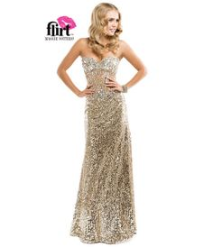 Flirt by Maggie Sottero 2014 Prom Dresses - Light Gold Sequin Dress with Illusion Sweetheart Bodice - Unique Vintage - Prom dresses, retro dresses, retro swimsuits.