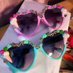 Ice Cream Scream Spiked Kawaii Harajuku Sunglasses Sunnies, Lolita,... ($26) ❤ liked on Polyvore featuring sunglasses and kawaii