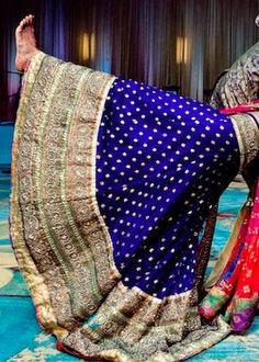 Gold and blue Lehenga. Bridal Lehenga. Indian wedding.