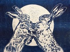 ARTFINDER: Dancing in the moonlight by Sarah Cemmick - boxing or dancing? Two hares are enjoying the moonlit evening... Limited edition of 25