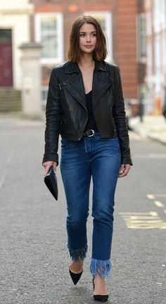 Sara Donaldson wearing fringe-hem jeans during London Fashion WEek