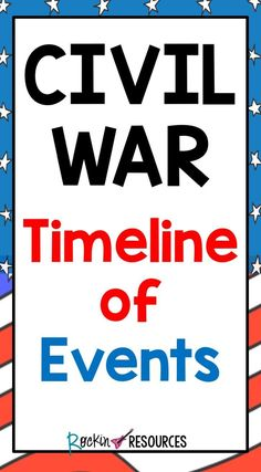 Are you teaching the Civil War? This Civil War timeline is in chronological order that summarizes 33 events that will help you organize your lessons! 4th Grade Social Studies, Teaching Social Studies, Teaching History, History Classroom, History Education, Kids Education, Civil War Activities, Grades, American Civil War