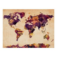 Poster | WELTKARTE ALS AQUARELL-MALEREI von iArtPrints | #art #artwork #design #digital #drawing #graphic #illustration #painting #print #kunst #zeichnung #grafik #abbildung #druck #worldmap #map #mapoftheworld #world #earth #earthmap