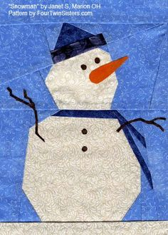 Snowman paper-pieced pattern