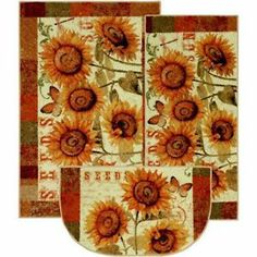 Add warmth to your kitchen decor with these three-piece kitchen rug set. These machine-tufted mats feature a beautiful sunflower design, and are made of fade- and stain-resistant, non-allergenic nylon paired with a durable latex backing. French Kitchen Decor, Kitchen Decor Themes, Kitchen Ideas, Quirky Kitchen, Boho Kitchen, Kitchen Office, Red Kitchen, Big Chill, Kitchen Area Rugs