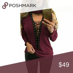 RESTOCKED NEW ARRIVAL NWT RED LACE UP SWEATER Also available in green VNECK Lace up front SUGGESTION Pair it with a pair of leather leggings  Also available in my closet regular and cut out knee leggings:)) ALSO AVAILABLE IN MILITARY GEEEN angelochekk boutique  Sweaters Cowl & Turtlenecks