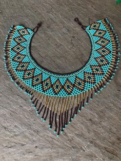 Tribal Beaded Necklace~ turquoise purple and gold Diy Jewelry Necklace, Seed Bead Necklace, Tribal Necklace, Necklace Designs, Beaded Necklaces, Beaded Jewellery, Necklace Ideas, Homemade Necklaces, Turquoise And Purple