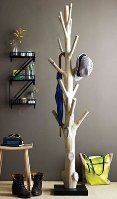 Keeping Clothes Off The Floor: 28 Coat Racks And Stands | DigsDigs. Love the tree! Would paint it grey.