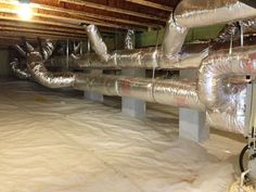 beautiful duct system in a beautiful crawl space Duct Insulation, Crawl Space Insulation, Crawl Space Dehumidifier, Crawl Space Encapsulation, Building A Basement, Hvac Air Conditioning, Hvac Maintenance, Hvac Installation, Hvac Repair