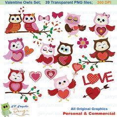 Owl clipart Valentine owls 39 owl clip art set by garrylain, $5.00