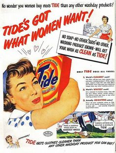 This Tide ad from the 1950s errs on the side of the stereotypical, by assuming that all women want to get Tide detergent, under the broader assumption that all women are responsible for the cleaning duties in their homes (as if all men didn't want their clothes cleaned). I guess political correctness was a distant concept for ads during the '50s.
