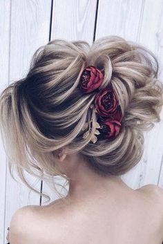 42 Wedding Hairstyles - Romantic Bridal Updos, HAİR STYLE, wedding hairstyles medium hair elegant high textured updo with red flowers pins milagolubeva. Wedding Hairstyles For Medium Hair, Romantic Hairstyles, Short Hair Updo, Cute Hairstyles, Braided Hairstyles, Bridal Updo Hairstyles, Bridal Hair Updo High, Medium Hair Styles, Curly Hair Styles