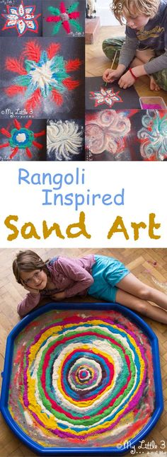 Rangoli Inspired Sand Art SAND ART for kids is great for all year round creativity. Use it as a Diwali craft and make Rangoli patterns or for abstract or process art. Homemade coloured sand is great for exploring transitory and collabo