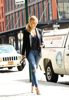Erin Heatherton in Ripped Jeans Out in NY