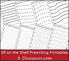 Free Elf on the Shelf Prewriting Printables - 3 different types: dotted line, solid line, & thick line dotted - 3Dinosaurs.com