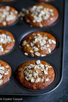 Whole Wheat Apple Spice Muffins Recipe...Great for healthy snacks or on-the-go breakfasts. | cookincanuck.com #muffin
