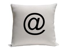 """At Symbol Pillow Cover, Black and White Pillow, size 14"""" 16"""" 18"""", Throw Pillows, Accent Pillows, Pillow Cover"""